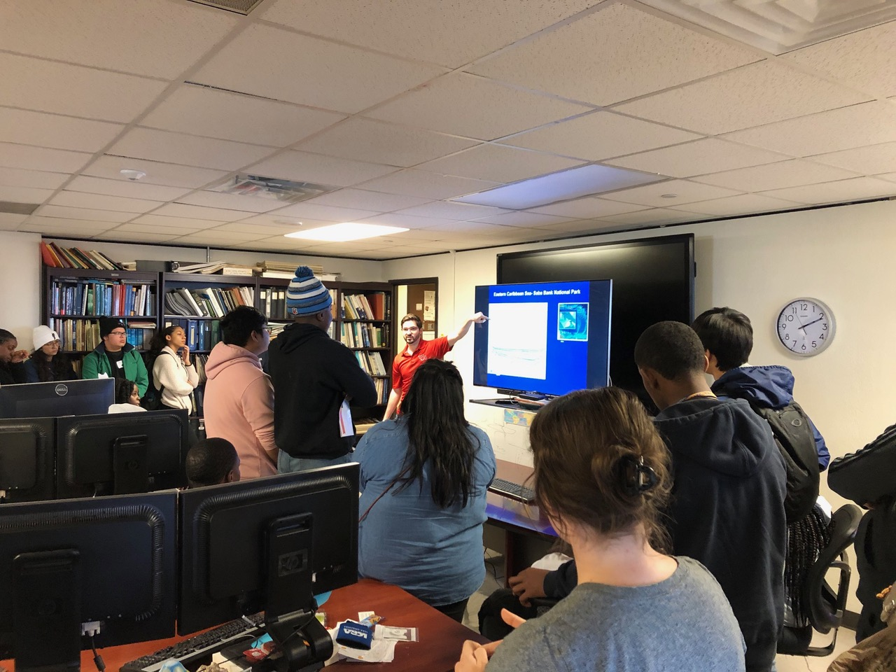 CBTH MS student Ben Miller presents to STEM group from Pflugerville high school, Feb 2020