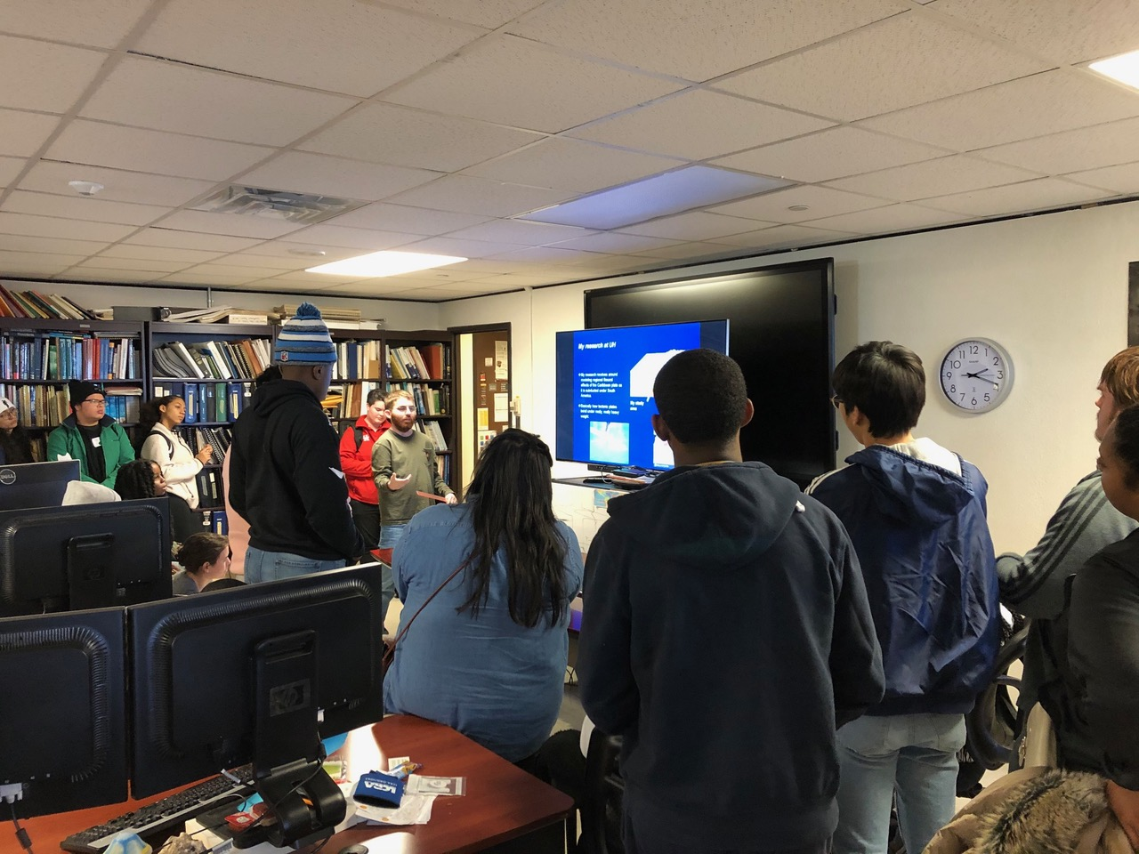 CBTH undergrad Weston Charles presents to STEM group from Pflugerville high school, Feb 2020
