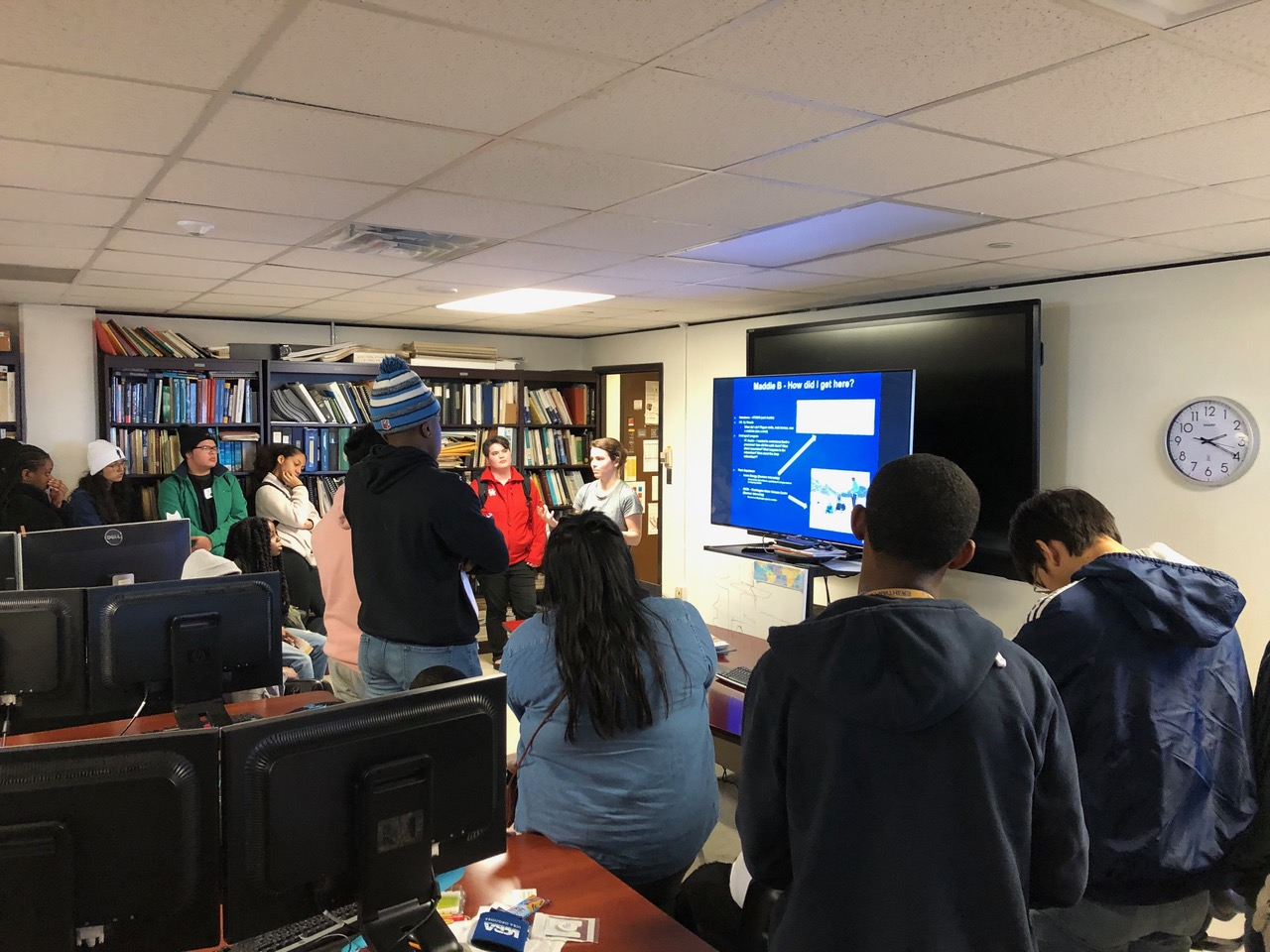 CBTH MS student Maddie Bishop presents to STEM group from Pflugerville high school, Feb 2020