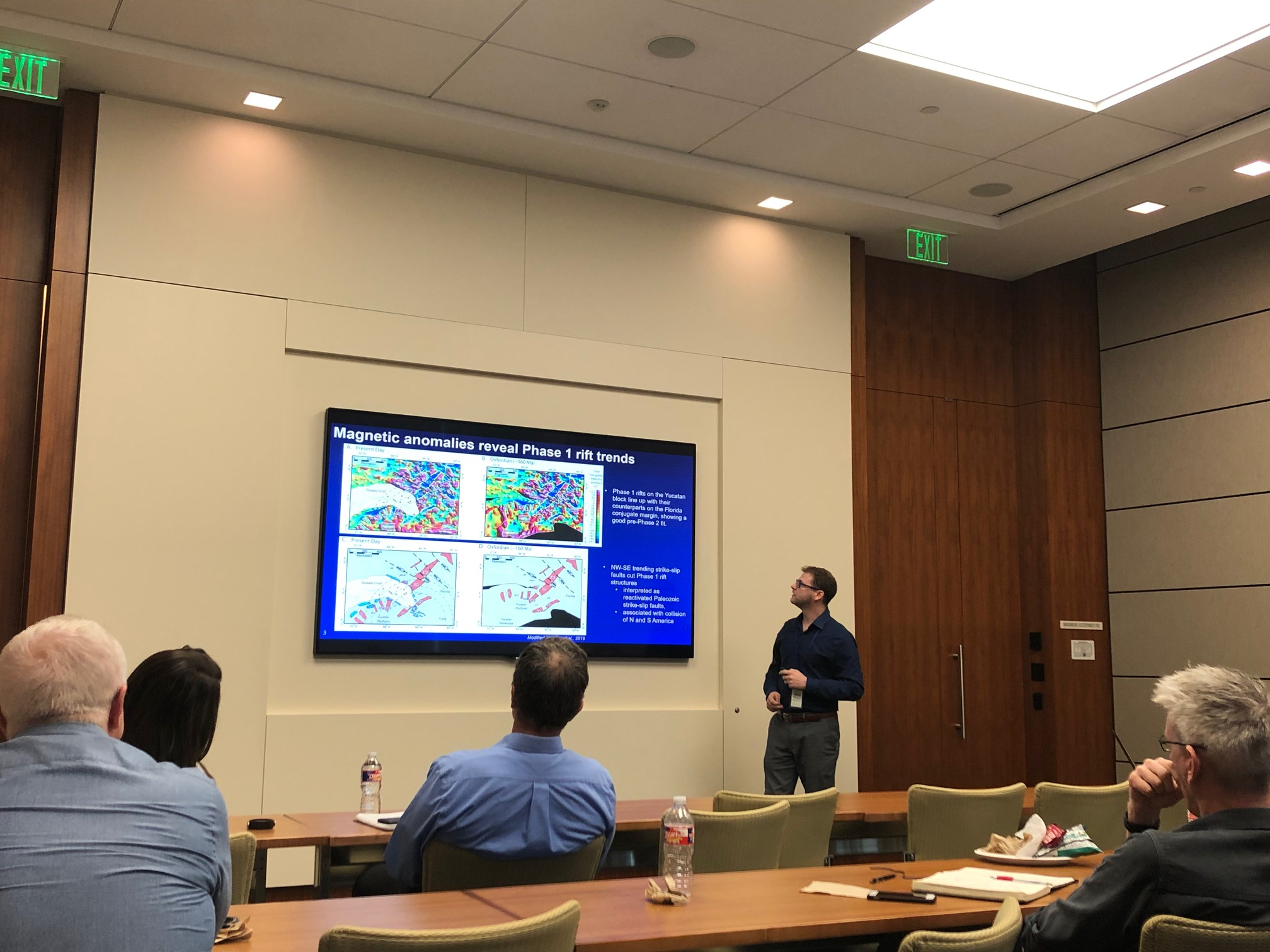CBTH PhD candidate Marcus Zinecker presents his research on the SE GOM at Hess on March 6, 2020.