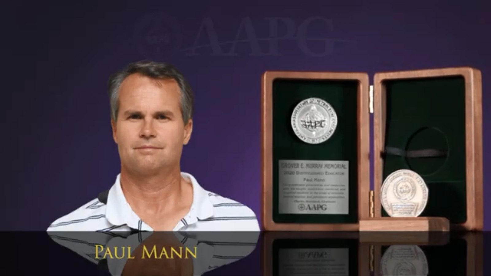 Dr. Paul Mann receives the Grover E. Murray Memorial Distinguished Educator Award from AAPG in October 2020.