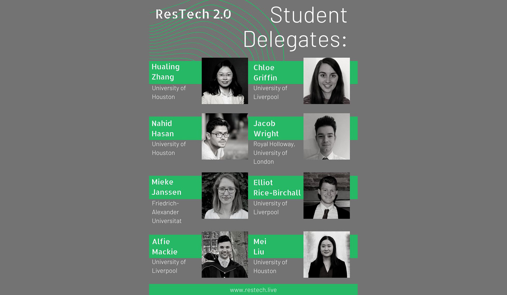 CBTH students Hualing Zhang, Nahid Hasan, and Mei Liu were selected as student delegates for the ResTech 2.0 Virtual Reservoir Conference