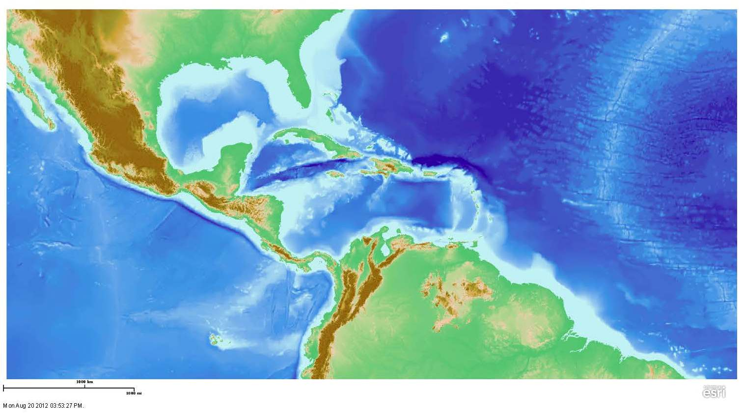 Caribbean Topographic Map.Maps Cbth K 12 Outreach